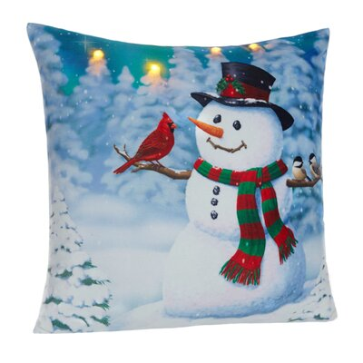 Snowman LED Holiday Light Up Throw Pillow