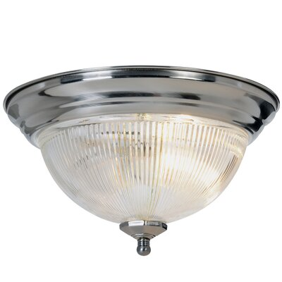 Halophane 1-Light Flush Mount Size: 13 W x 13 D, Fixture Finish: Polished Brass