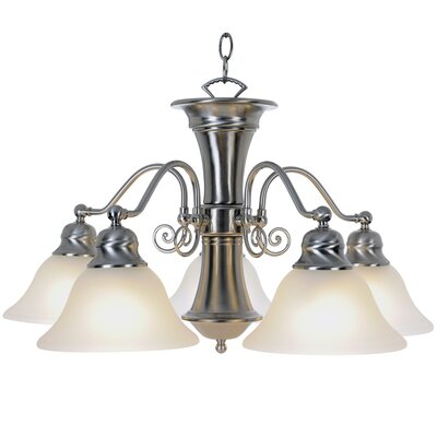 Wellington 5-Light Shaded Chandelier Finish: Brushed Nickel, Bulb Type: 13W Compact Fluorescent