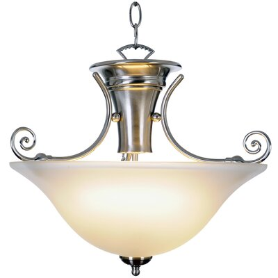 Wellington Lighting 1-Light Bowl Pendant Finish: Brushed Nickel, Bulb Type: 40W Compact Fluorescent
