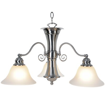 Wellington 3-Light Shaded Chandelier Bulb Type: 60W Medium Base, Finish: Brushed Nickel