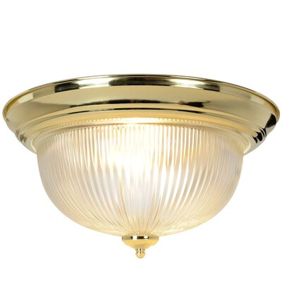 Halophane 1-Light Flush Mount Size: 15 W x 15 D, Fixture Finish: Polished Brass