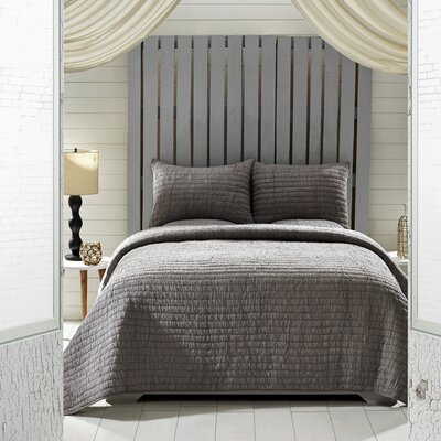 Rochelle 2 Piece Quilt Set Size: Queen, Color: Gray