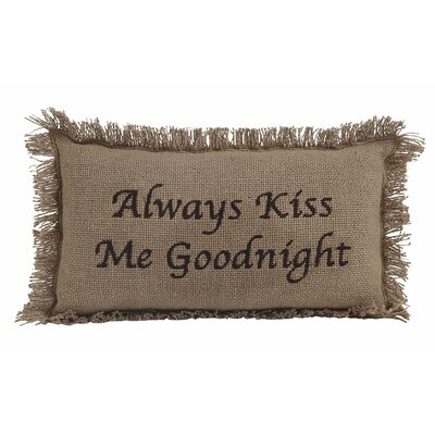 Burlap Always Kiss Me Goodnight 100% Cotton Lumbar Pillow