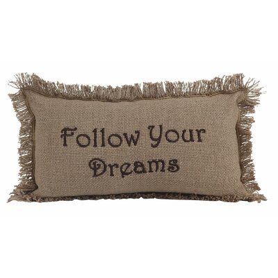 Alcocer Burlap Follow Your Dreams Cotton Lumbar Throw Pillow