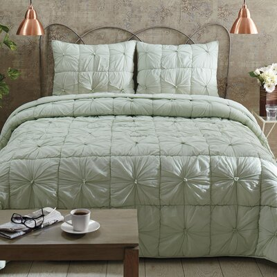 Camille Quilt Set Size: Queen, Color: Mint