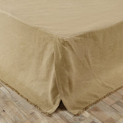 Aldana Burlap Fringed Bed Skirt Size: Twin