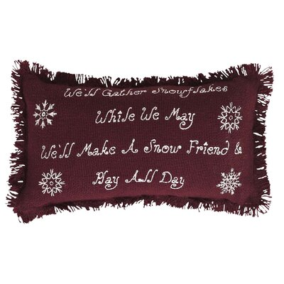 Buchan Merlot Burlap Snowflake Quote 100% Cotton Lumbar Pillow