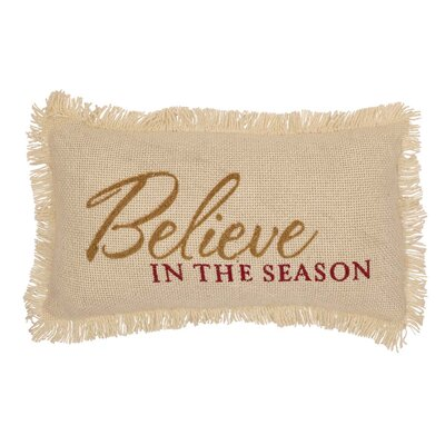 Pape Creme Burlap Believe in the Season 100% Cotton Lumbar Pillow