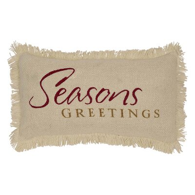 Pape Creme Burlap Seasons Greetings 100% Cotton Lumbar Pillow