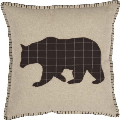 Dubay Applique Bear 100% Cotton Throw Pillow