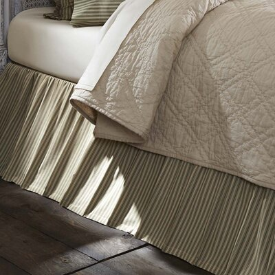Ding Stripe Bed Skirt Size: Twin, Color: Green