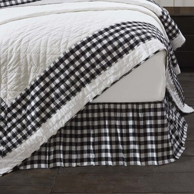 Caulder Buffalo Check Bed Skirt Size: Queen, Color: Black