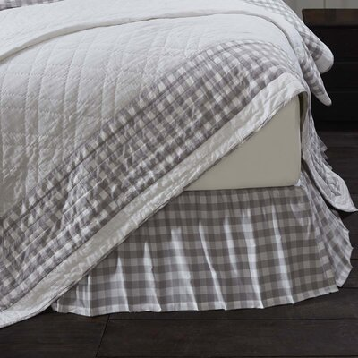 Caulder Buffalo Check Bed Skirt Size: Queen, Color: Gray