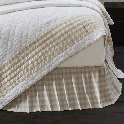 Caulder Buffalo Check Bed Skirt Size: King, Color: Tan