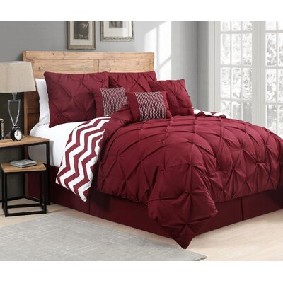 Geneva Home Venice 7 Piece Comforter Set - Size: King Color: Red