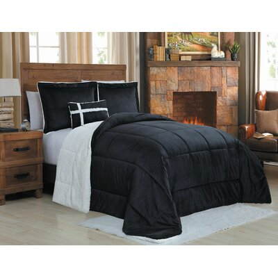 Micro Mink 3 Piece Reversible Comforter Set Color: Black