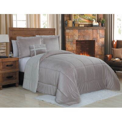 Micro Mink 3 Piece Reversible Comforter Set Color: Taupe