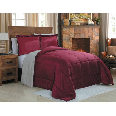 Micro Mink 3 Piece Reversible Comforter Set Color: Red