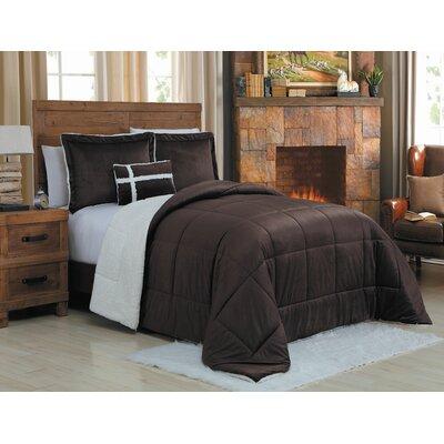 Micro Mink 3 Piece Reversible Comforter Set Color: Chocolate