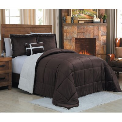 Micro Mink 4 Piece Reversible Comforter Set Size: King, Color: Chocolate