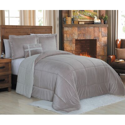 Micro Mink 4 Piece Reversible Comforter Set Color: Taupe, Size: Queen