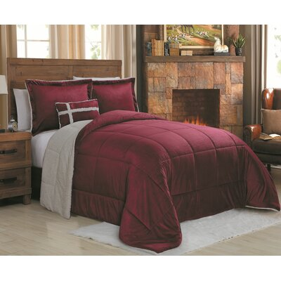 Micro Mink 4 Piece Reversible Comforter Set Size: Queen, Color: Red