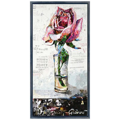 "Pink Rose Cocktail B"" Paper Collage Signed by Gianni Framed Graphic Art GAC-1118B-2242BO1"