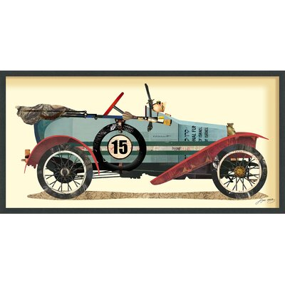 "Antique Automobile #1"" Dimensional Collage Framed Graphic Art Under Glass LRUN3166 39231642"