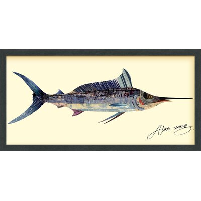 "Blue Marlin"" Dimensional Collage Framed Graphic Art Under Glass LNTS1805 39231945"