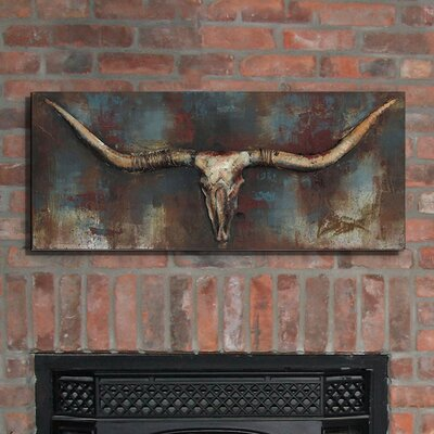 """Long Horn"""" Mixed Media Iron Hand Painted Dimensional Wall D�cor UNRS3304 40714141"""