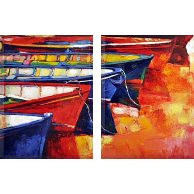 Hand Painted 'By the Sea' Print Multi-Piece Image on Canvas