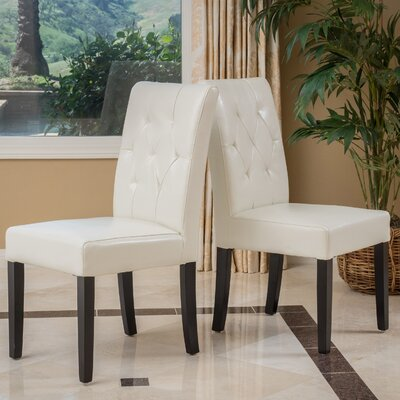 Allegany Bonded Leather Upholstered Dining Chair Upholstery: Ivory