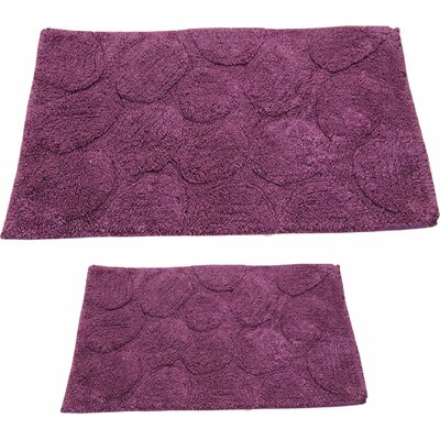 Castle 2 Piece 100% Cotton Palm Spray Bath Rug Set Size: 24 H X 17 W and 34 H X 21 W, Color: Aubergine