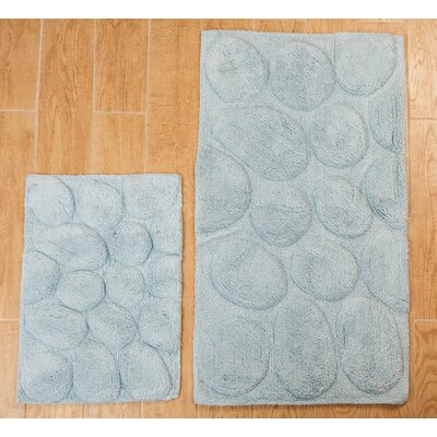 Castle 2 Piece 100% Cotton Palm Spray Bath Rug Set Size: 24 H X 17 W and 40 H X 24 W, Color: Light Blue