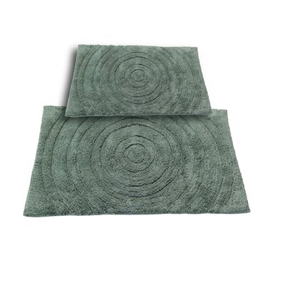 Castle 2 Piece 100% Cotton Echo Spray Latex Bath Rug Set Size: 24 H X 17 W and 40 H X 24 W, Color: Green
