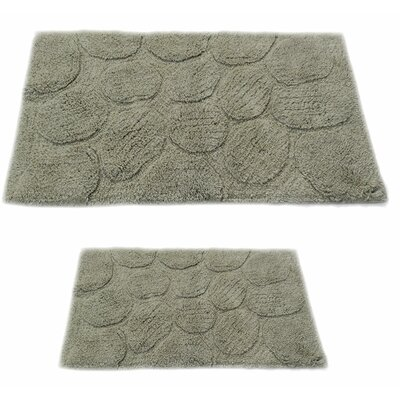 Castle 2 Piece 100% Cotton Palm Spray Bath Rug Set Color: Light Sage, Size: 24 H X 17 W and 34 H X 21 W
