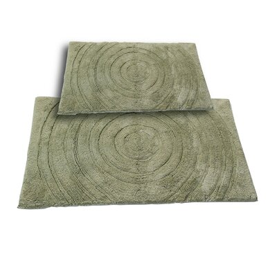Castle 2 Piece 100% Cotton Echo Spray Latex Bath Rug Set Color: Light Sage, Size: 24 H X 17 W and 34 H X 21 W