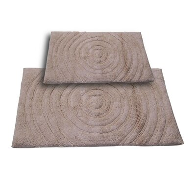 Castle 2 Piece 100% Cotton Echo Spray Latex Bath Rug Set Size: 24 H X 17 W and 40 H X 24 W, Color: Natural