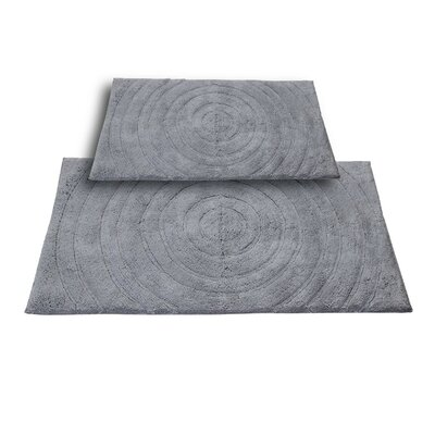 Castle 2 Piece 100% Cotton Echo Spray Latex Bath Rug Set Size: 24 H X 17 W and 40 H X 24 W, Color: Silver
