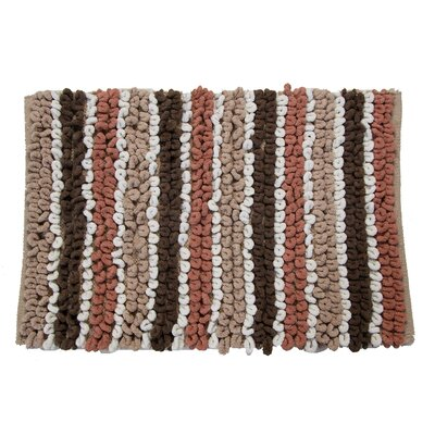 Castle Chunky Chenille  Bath Rug Size: 40 H X 24 W, Color: Brown/Taupe/White