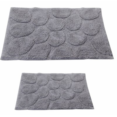 Castle 2 Piece 100% Cotton Palm Spray Bath Rug Set Size: 24 H X 17 W and 34 H X 21 W, Color: Silver