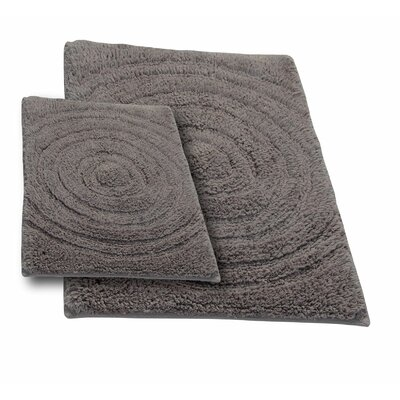 Castle 2 Piece 100% Cotton Echo Spray Latex Bath Rug Set Size: 24 H X 17 W and 40 H X 24 W, Color: Stone