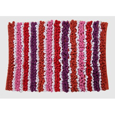 Castle Chunky Chenille  Bath Rug Size: 30 H X 20 W, Color: Orange/Taupe/White