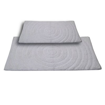 Castle 2 Piece 100% Cotton Echo Spray Latex Bath Rug Set Size: 24 H X 17 W and 40 H X 24 W, Color: White