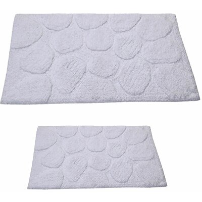 Castle 2 Piece 100% Cotton Palm Spray Bath Rug Set Size: 24 H X 17 W and 30 H X 20 W, Color: White