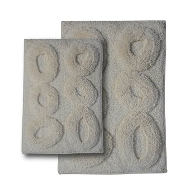 Castle 2 Piece Castle Hill 100% Cotton Pebble Spray Latex Bath Rug Set Size: 24 H X 17 W and 30 H X 20 W, Color: Ivory
