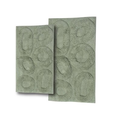 Castle 2 Piece Castle Hill 100% Cotton Pebble Spray Latex Bath Rug Set Color: Light Sage, Size: 24 H X 17 W and 40 H X 24 W