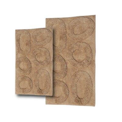 Castle 2 Piece Castle Hill 100% Cotton Pebble Spray Latex Bath Rug Set Color: Taupe, Size: 30 H X 20 W and 40 H X 24 W