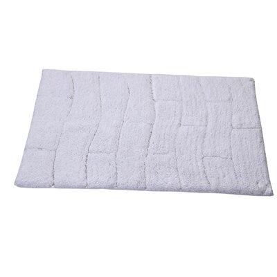 Castle 100% Cotton New Tile Spray Latex Back Bath Rug Size: 24 H X 17 W, Color: White